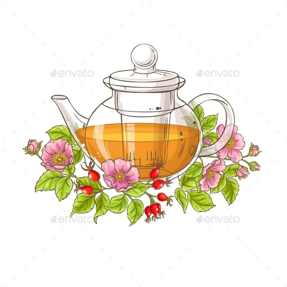 Wild Rose Tea Illustration on White Background - Food Objects
