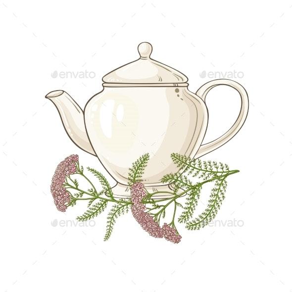 Milfoil Tea Illustration on White Background - Health/Medicine Conceptual
