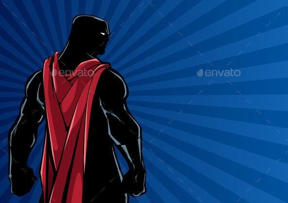 Superhero Back Ray Light Silhouette - People Characters