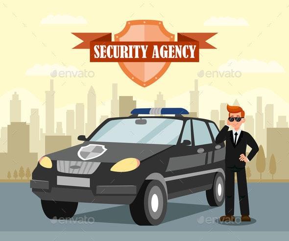 Secret Agent and Car Flat Vector Illustration - Miscellaneous Vectors