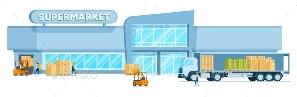 Warehouse Truck Unloading Freight in Supermarket - Industries Business