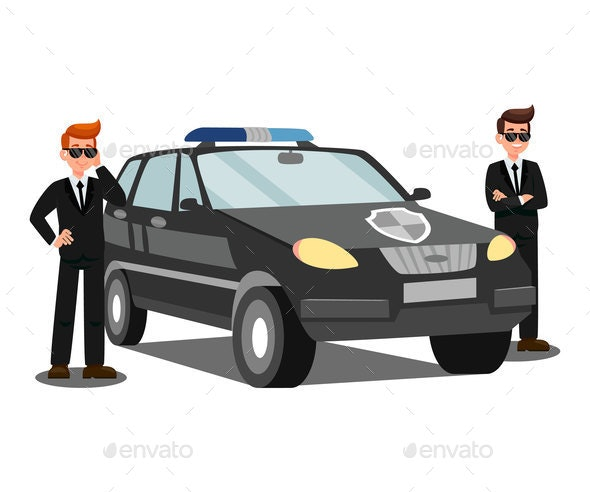 Security Agents and Car Flat Vector Illustration - Miscellaneous Vectors