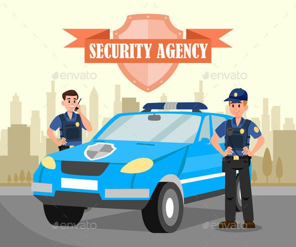 Two Bodyguards and Car Flat Vector Illustration - Miscellaneous Vectors