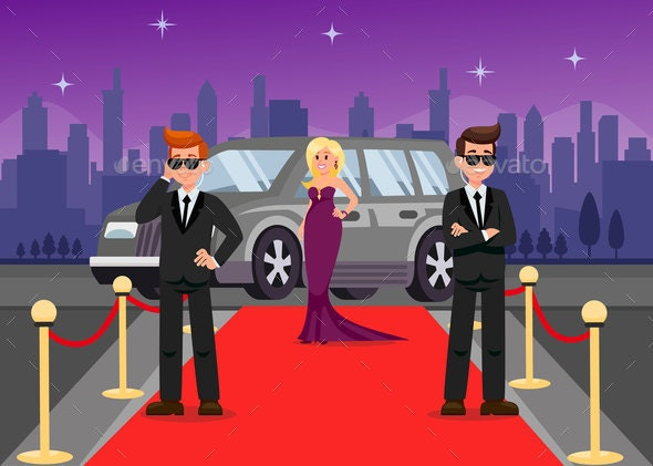 Bodyguards and Female Celebrity Cartoon Characters - People Characters