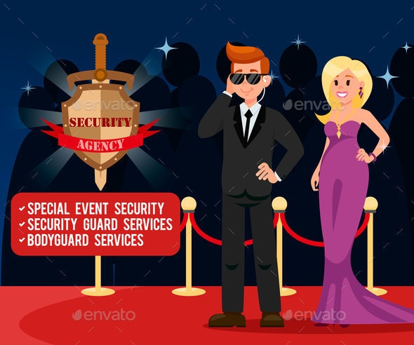VIP Bodyguard and Elegant Woman Banner Template - Industries Business