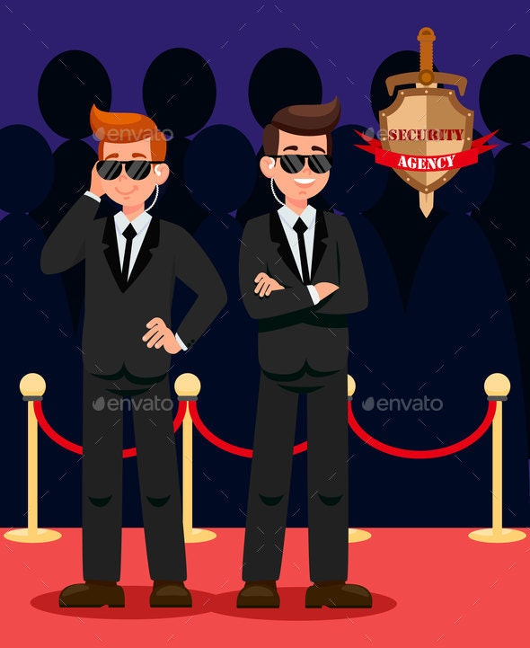 Two Bodyguards on Red Carpet Cartoon Characters - People Characters