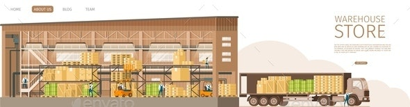 Warehouse Open Store Delivering Truck Infront - Industries Business