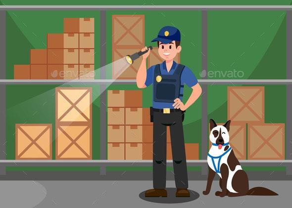 Agent and German Shepherd Flat Vector Illustration - Industries Business