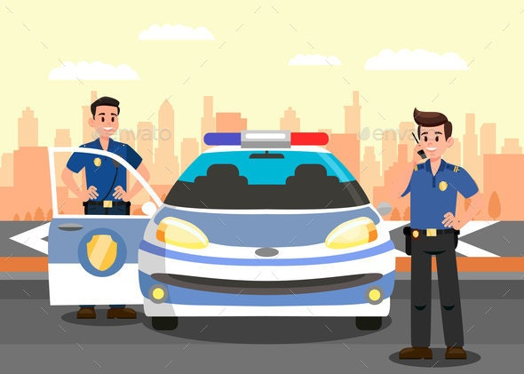 Police Officers and Car Flat Vector Illustration - Industries Business