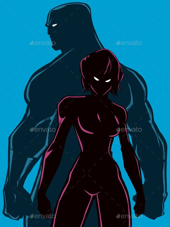 Superhero Couple Back To Back Silhouettes - People Characters