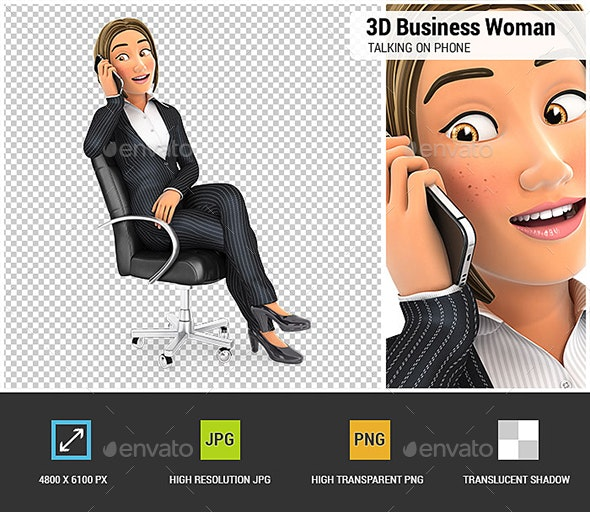 3D Business Woman Talking on Phone - Characters 3D Renders