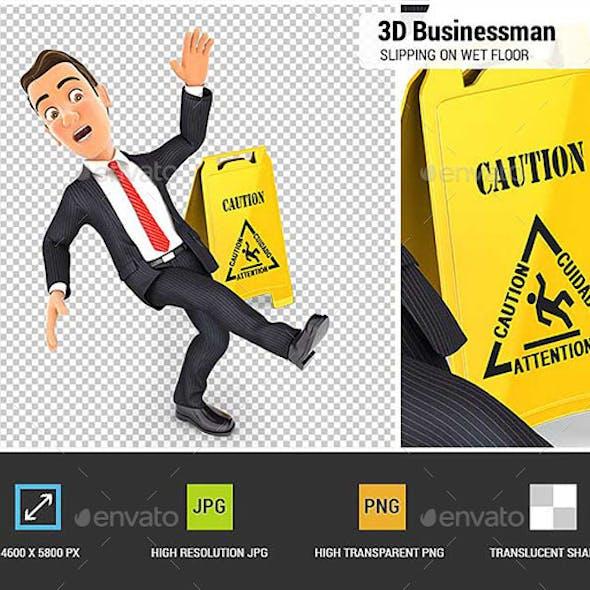 3D Businessman Slipping on Wet Floor