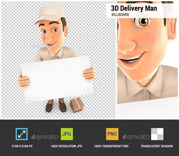 3D Delivery Man Holding a Billboard - Characters 3D Renders