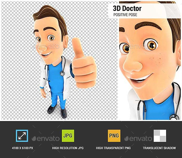 3D Doctor Positive Pose - Characters 3D Renders