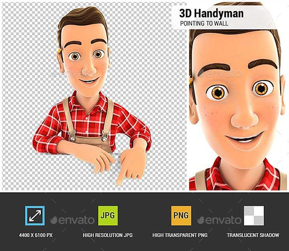 3D Handyman Pointing to Empty Wall - Characters 3D Renders