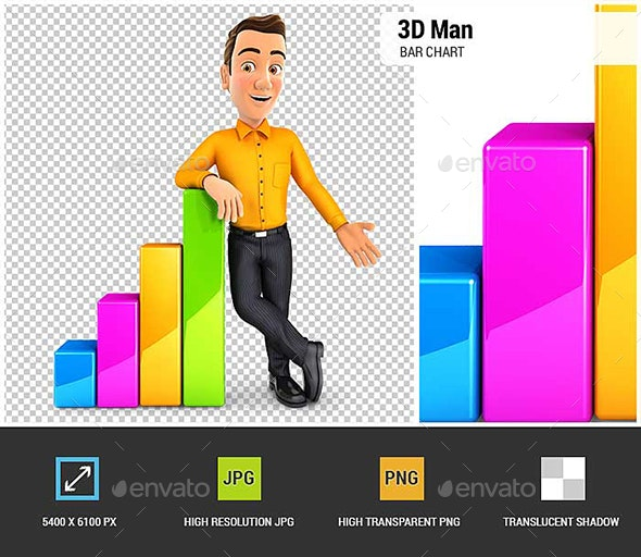 3D Man Leaning Against Bar Chart - Characters 3D Renders
