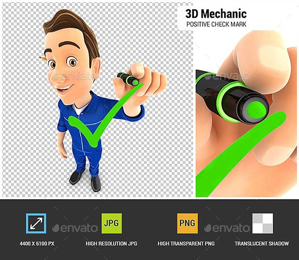 3D Mechanic Drawing Positive Check Mark - Characters 3D Renders
