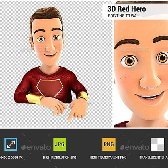 3D Red Hero Pointing to Empty Wall