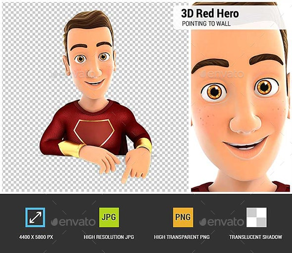 3D Red Hero Pointing to Empty Wall - Characters 3D Renders