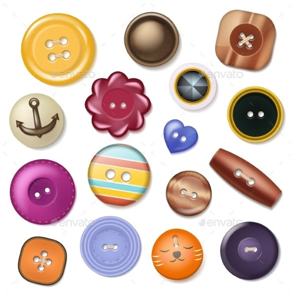 Sewing Button Vector Fashion Design Clothing - Miscellaneous Vectors