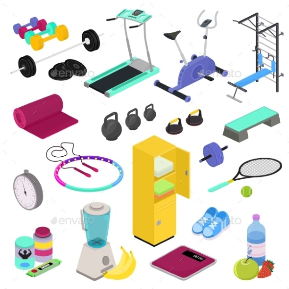 Fitness Equipment Vector Gym Club Workout Training - Sports/Activity Conceptual