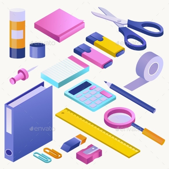 Office Supply Vector Stationery School Tools Icons - Miscellaneous Vectors