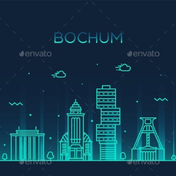 Bochum Skyline Germany Vector City Linear Style