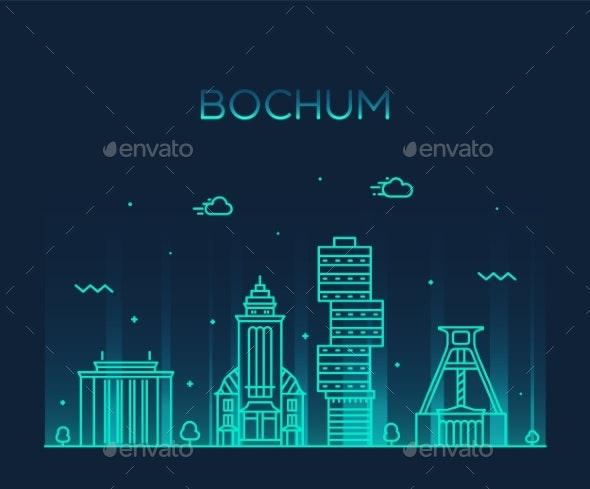 Bochum Skyline Germany Vector City Linear Style - Buildings Objects