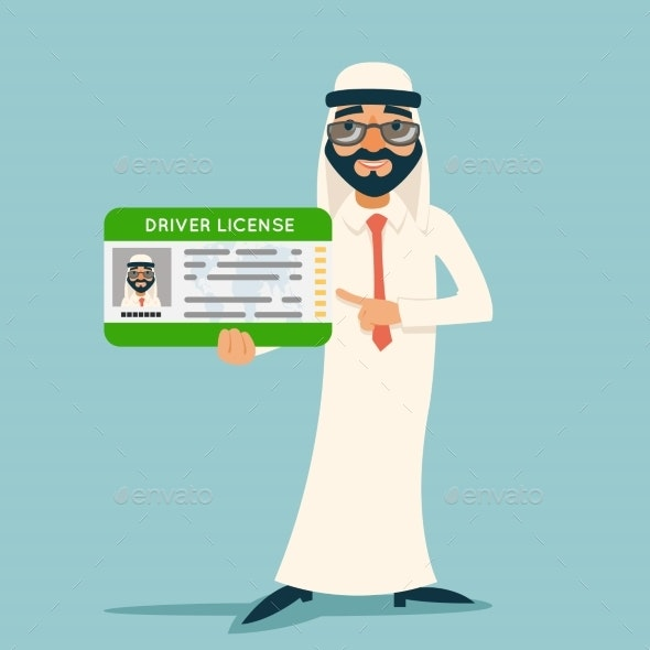 Cartoon Character Arab Car Driver License - Man-made Objects Objects