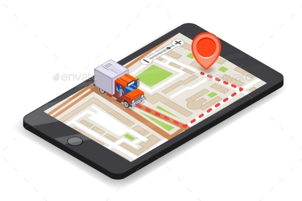 Smartphone Logistic Mobile Delivery Tracking App - Man-made Objects Objects