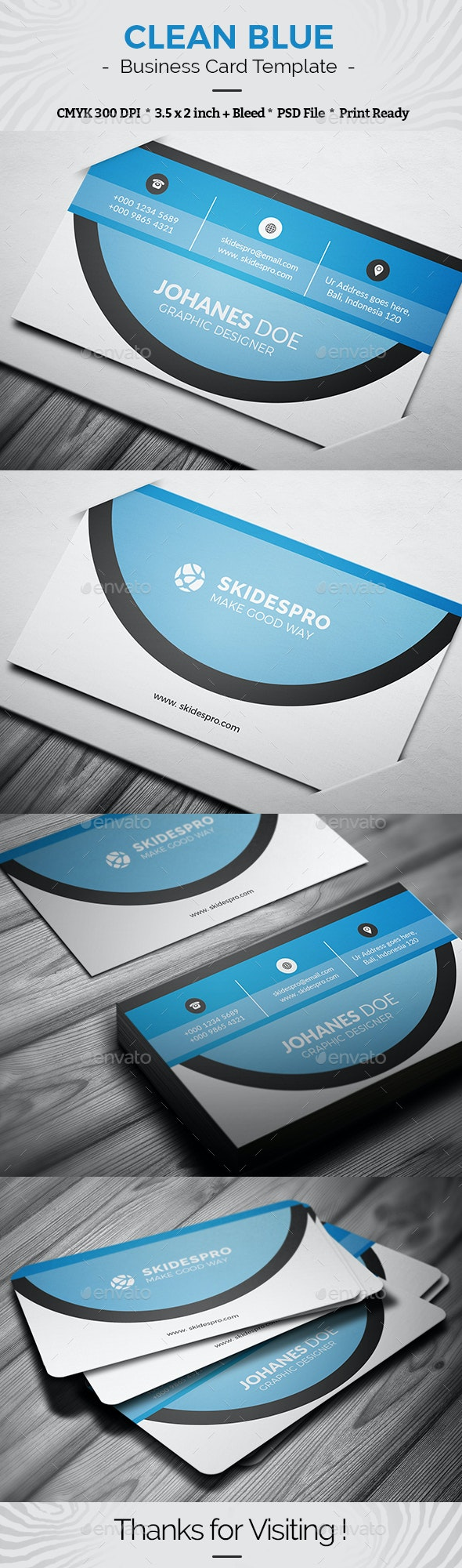 Clean Blue - Business Cards Print Templates