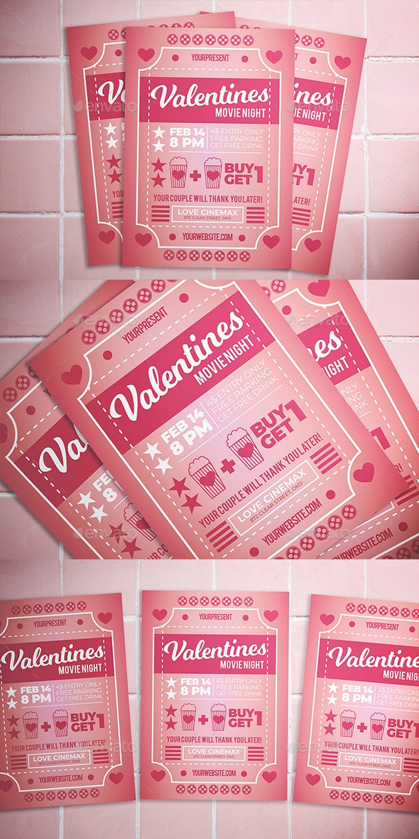 Valentine Movie Night Flyer - Flyers Print Templates