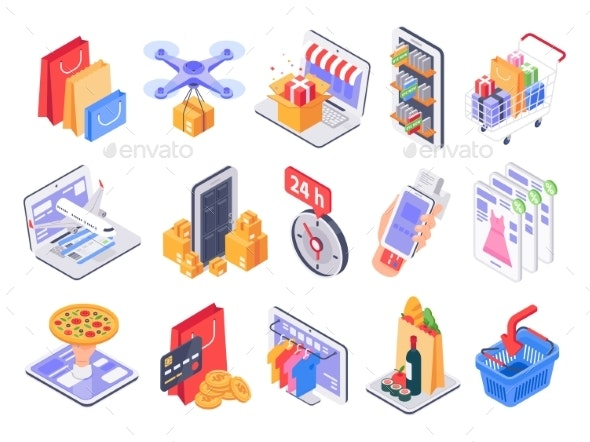 Isometric Shopping Online - Miscellaneous Vectors