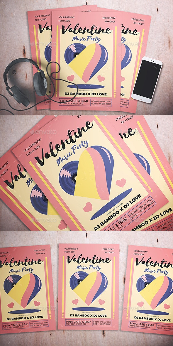 Valentine Music Party Flyer - Flyers Print Templates