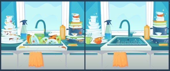 Washing Dishes in Sink and Dirty Dish in Kitchen - Miscellaneous Vectors