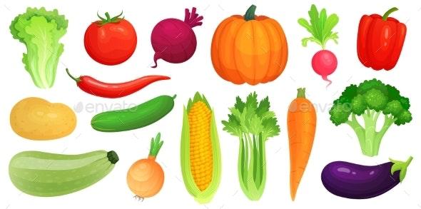 Cartoon Vegetables - Food Objects