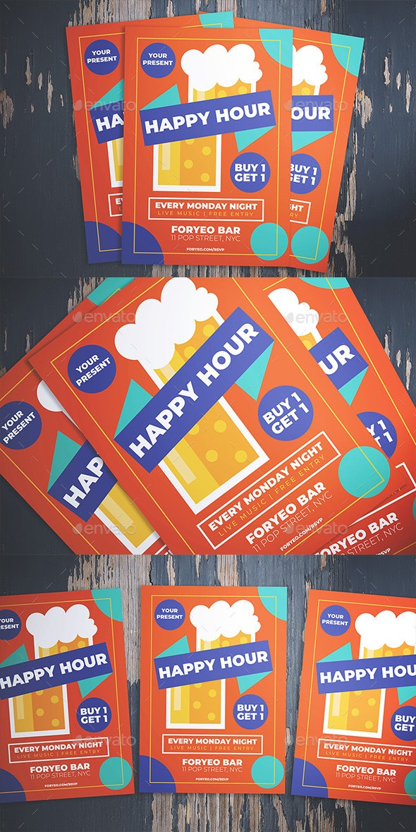 Beer Happy Hour Flyer - Flyers Print Templates
