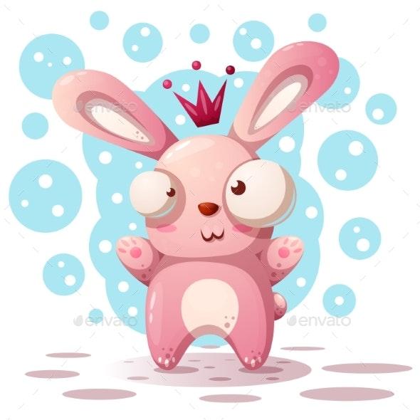 Rabbit Princess Cartoon Illustration - Animals Characters