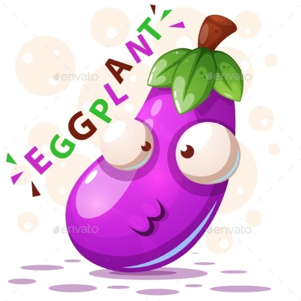 Eggplant Illustration Cartoon Characters - Food Objects