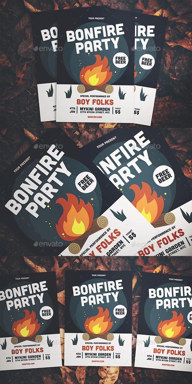 Bonfire Party Flyer - Flyers Print Templates