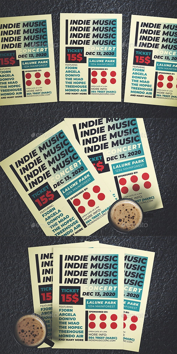 Indie Music Concert Flyer - Flyers Print Templates