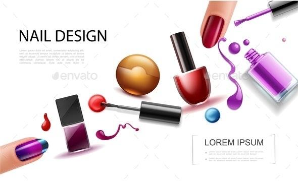 Realistic Nail Polish Concept - Miscellaneous Vectors