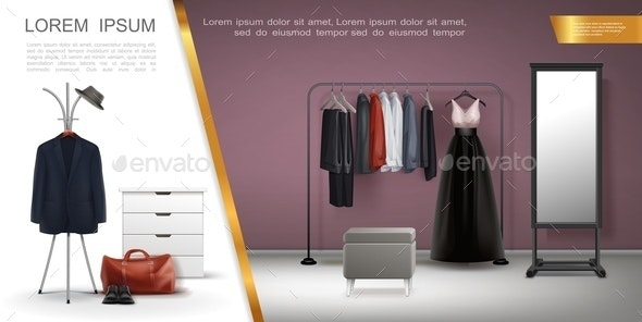 Realistic Wardrobe Room Elements Composition - Miscellaneous Vectors