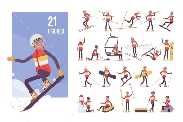 Sporty Young Man on a Winter Resort Character Set - Sports/Activity Conceptual