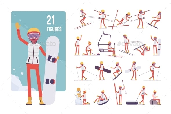 Sporty Young Woman on a Winter Resort Character - Sports/Activity Conceptual