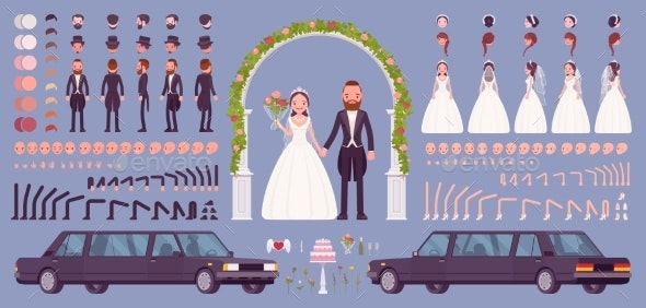 Bride and Groom on a Wedding Ceremony Creation Kit - People Characters