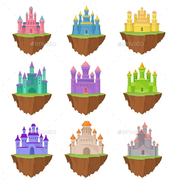 Collection Colorful Island Castles on White - Buildings Objects