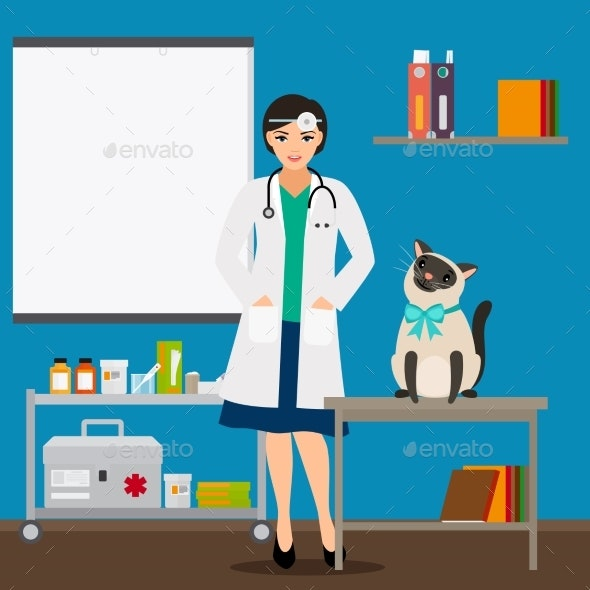 Veterinarian and Cat in Doctor Office Vector - Animals Characters