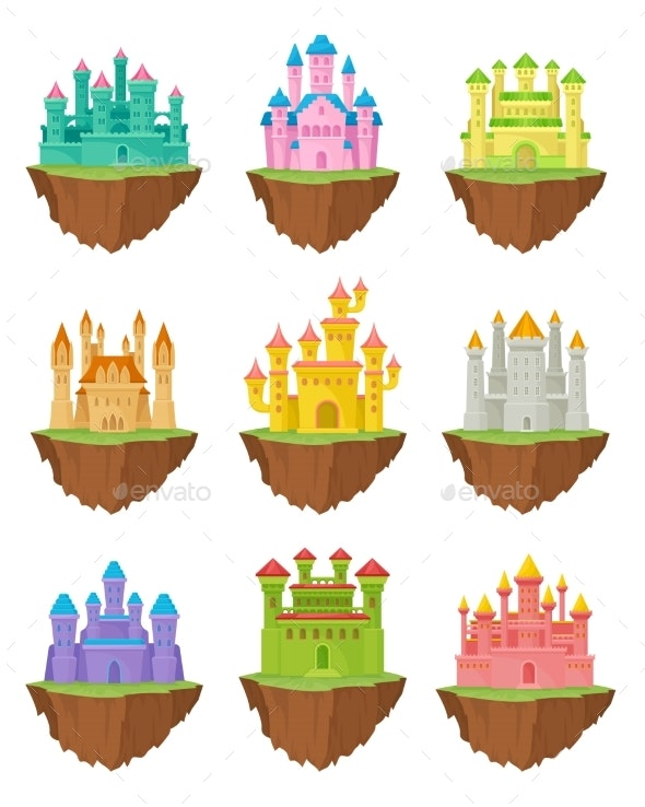 Fairytale Stone Island Castles on White Background - Buildings Objects