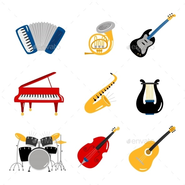 Popular Music Instruments Vector Icons of Set - Man-made Objects Objects